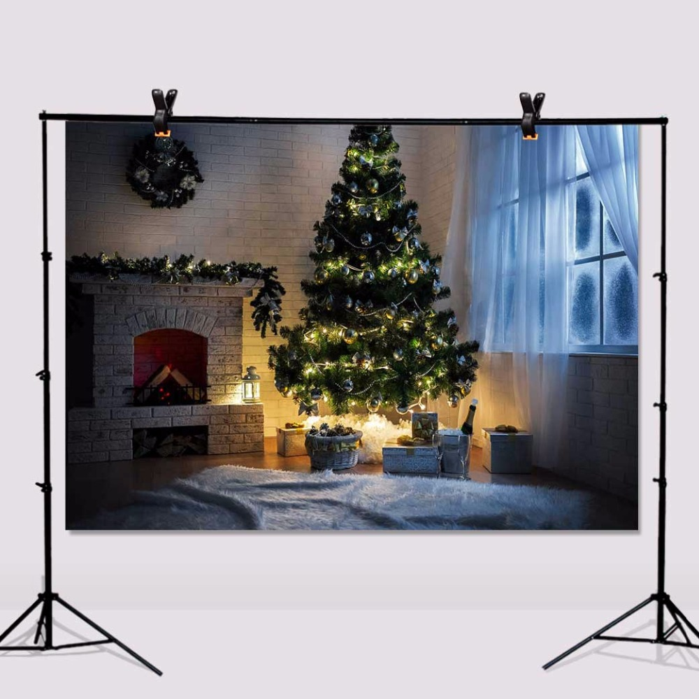 Christmas Fireplace Photography Backdrops Children Window Photo Studio Vinyl Background 7x5ft or 5x3ft christmas047 alfex alfex 9011 838