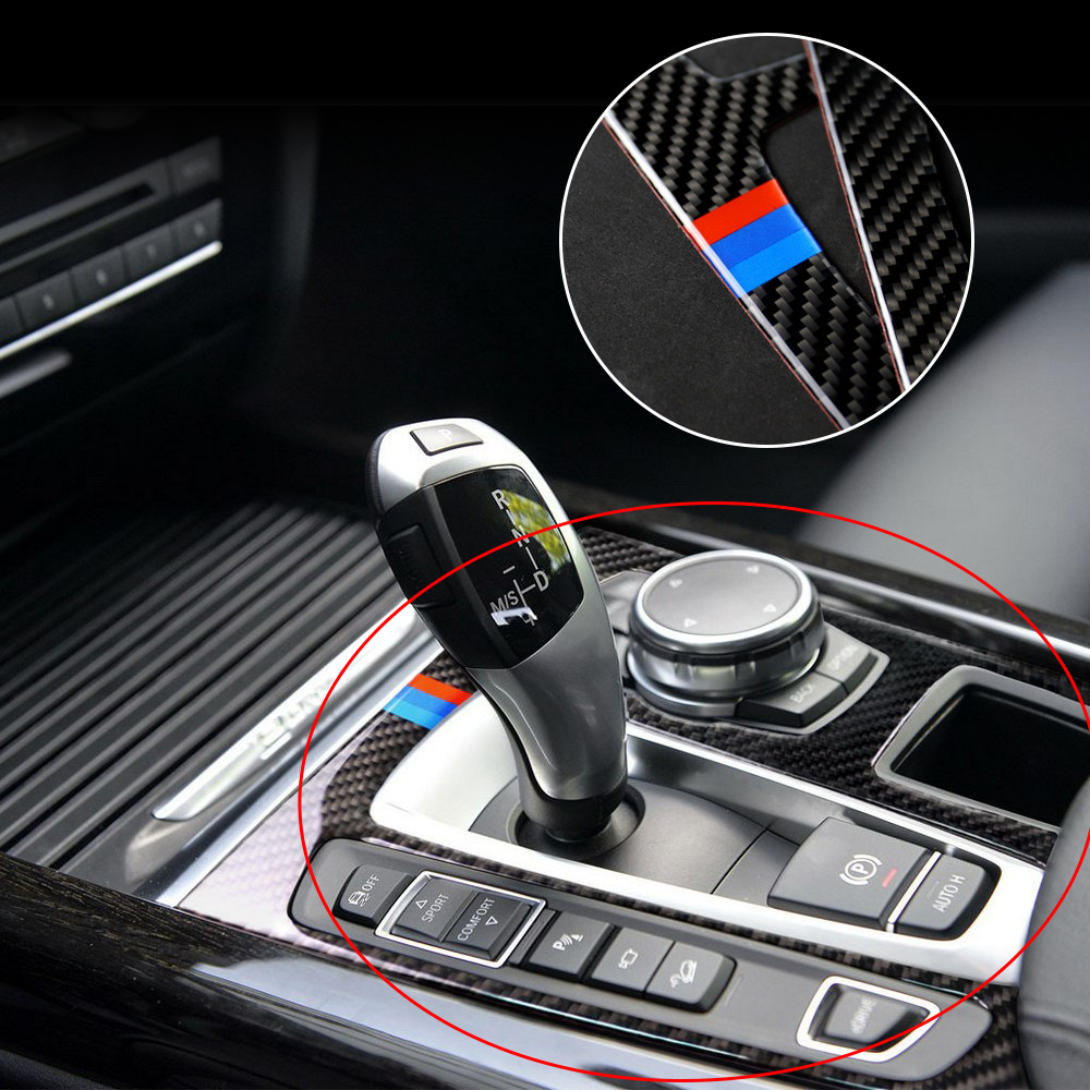 Carbon Fiber Auto Gear Panel Sticker For BMW X5 X6 F15 F16 2014 2017 Car Stickers and Decals Interior Mouldings 2 Colors-in Interior Mouldings from Automobiles & Motorcycles