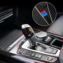Z włókna węglowego Auto biegów panelu naklejka na BMW X5 X6 F15 F16 2014 2017 samochodów naklejki i kalkomanie wewnętrzny profil 2 kolory