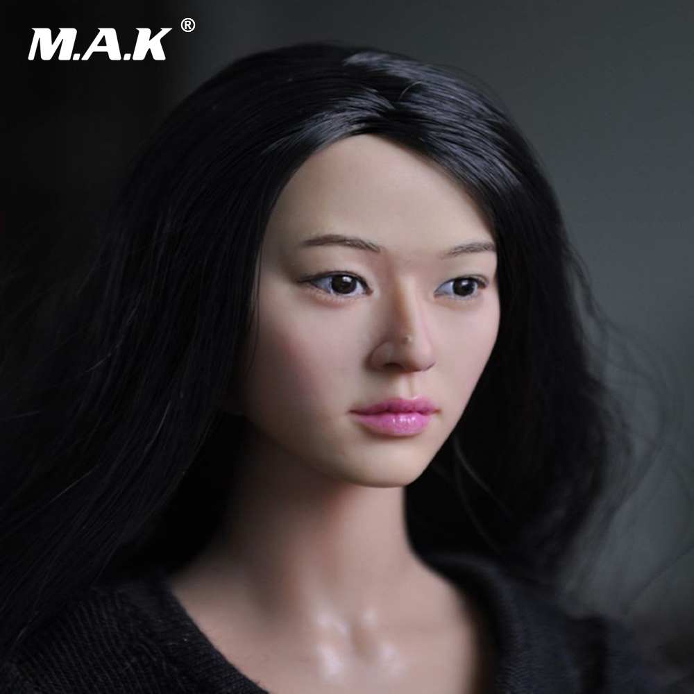 KM13-78 1:6 Scale Black Hair Feamle Head Sculpt Headplay Figure Head Carving Model Fit 12 Inches Action Figure Doll