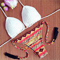 2016 Sexy Brazilian Bikinis Crotchet Top Women Tribal Print Swimsuit Orange Stars And Stripes Swimwear Fringe Thong Bathing Suit