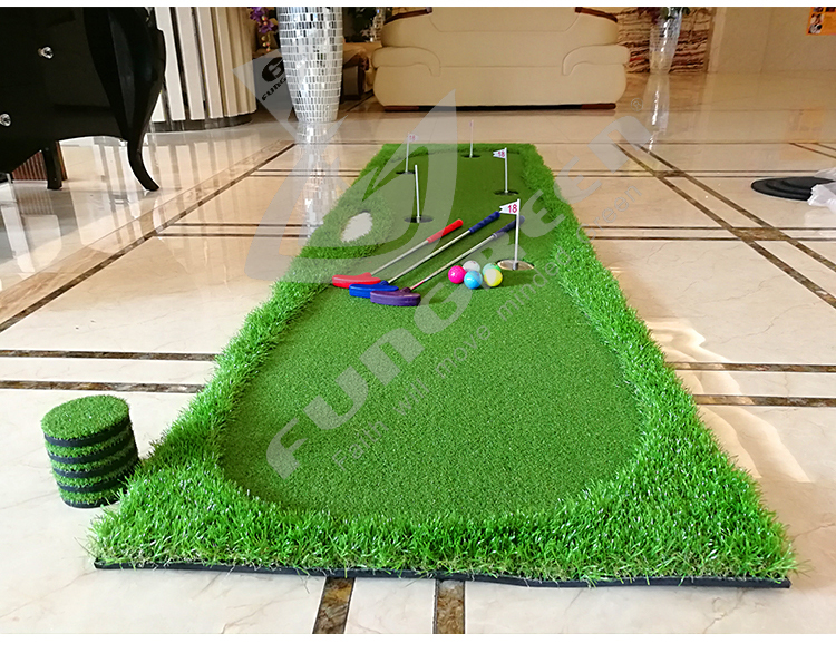 FUNGREEN 5 Holes Indoor Golf Putting Green 75x300cm Indoor Outdoor Training Putter Mat Practice Putting Green For Home Use