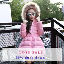 New 2016 Children Parka Girls Winter Coat Long Duck Down Thick Cotton-padded Hooded Winter Jacket For Girls Warm Wadded Coats