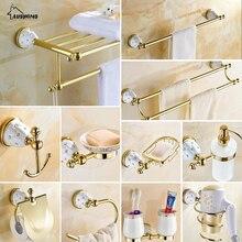 Latón dorado de cristal, toallero para Set de accesorios de baño, secador de pelo, estante, doble cepillo de dientes, Taza de cerámica, juego de herramientas de baño
