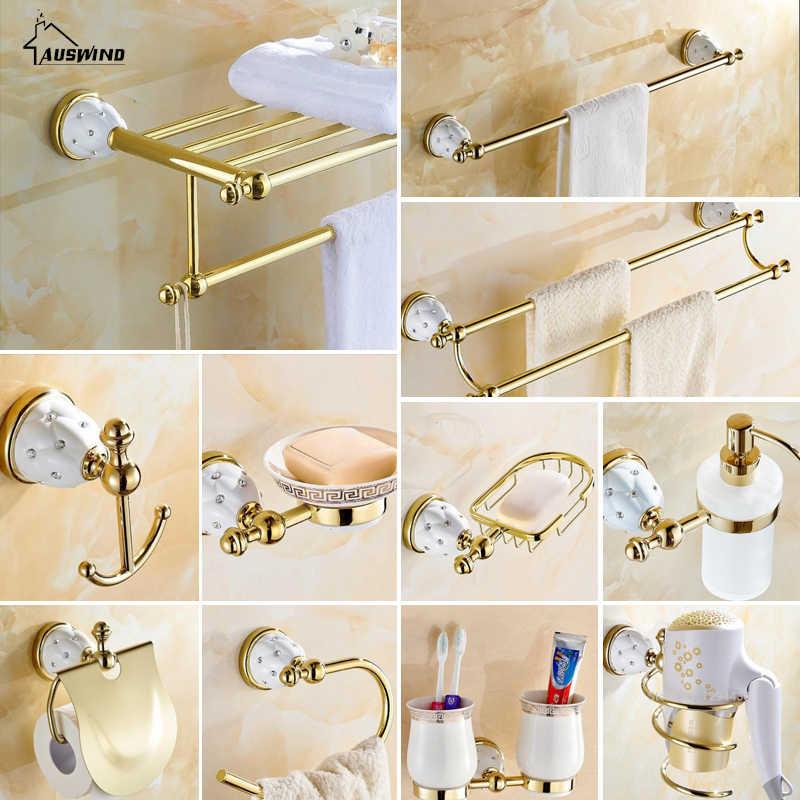 Kryształ mosiądz złoty łazienka akcesoria wieszak na ręczniki suszarka do włosów stojak podwójny kubek na szczoteczki do zębów ceramiczne łazienka sprzętu apartament typu suite