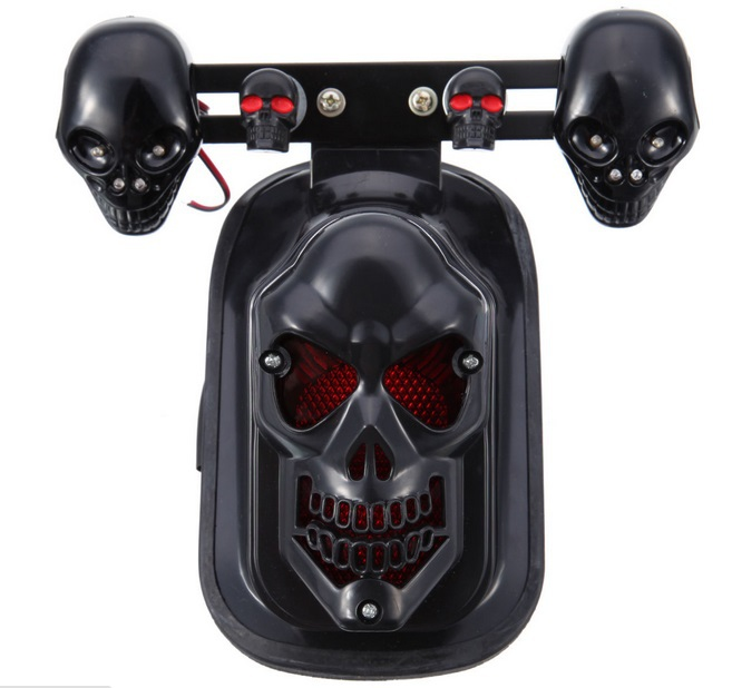 Universal Black Motorcycle Skull Turn Signal Rear Brake Tail Light For Harley Bobber Honda Yamaha