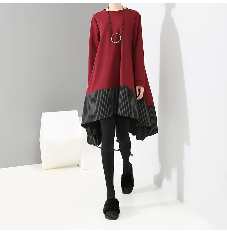 HTB1FO8sXLLsK1Rjy0Fbq6xSEXXaD - [EAM] 2019 New Spring  Winter Round Neck Long Sleeve Red Striped Irregular Printed Stitch Big Hemline Dress Women Fashion JK557