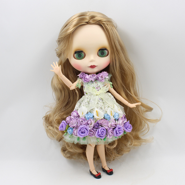 Blyth Clothes For 1/6 blyth icy Doll Flower Dress Purple Blue Free Shipping