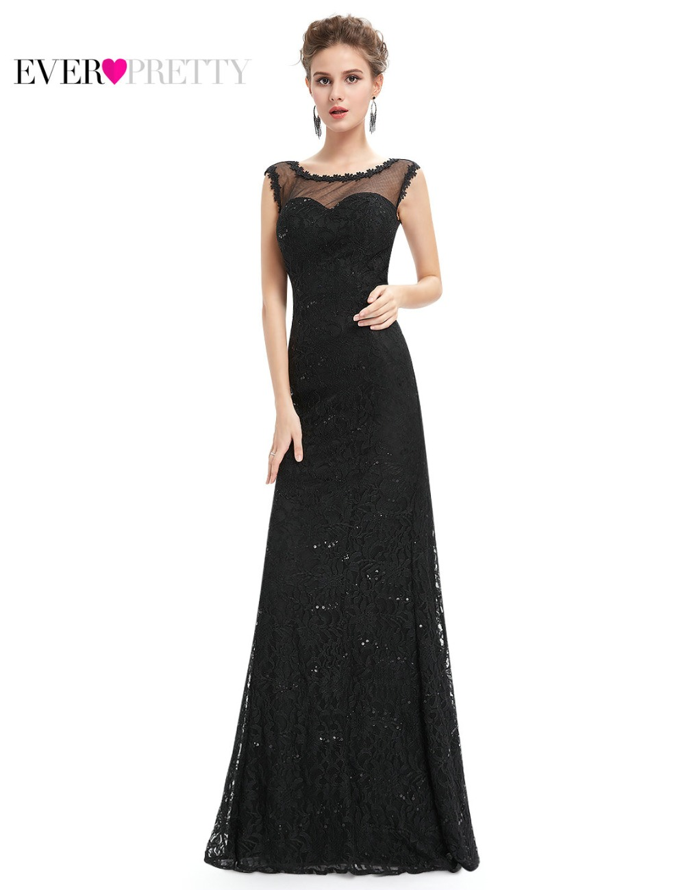 Long Black Prom Dresses 2017 Plus Size Ever Pretty EP08754BK Women ...