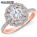 Forever Brilliant 1CT Moissanites Wedding Band 14K Solid Rose Gold Double Halo Lab Grown Diamond Engagement Rings For Womens