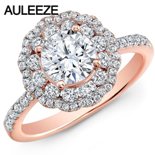 Forever Brilliant 1CT Moissanites Wedding Band 14K Solid Rose Gold Double Halo Lab Grown Diamond Engagement