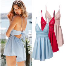 2018 New Beach Casual V-neck Fashion Sleeveless Zipper Slim Women's Jumpsuit Rompers Elastic Waist Sex shorts Size Pink(China)