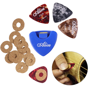 Alice 6 Pcs Celluloid Triangle Guitar Picks Plectrums With 1 Case Holder & 20 Pcs Guitar Pick Grip Tape Anti-slip portable pu leather guitar pick cases key chain style guitar picks plectrums bag holder guitar accessories