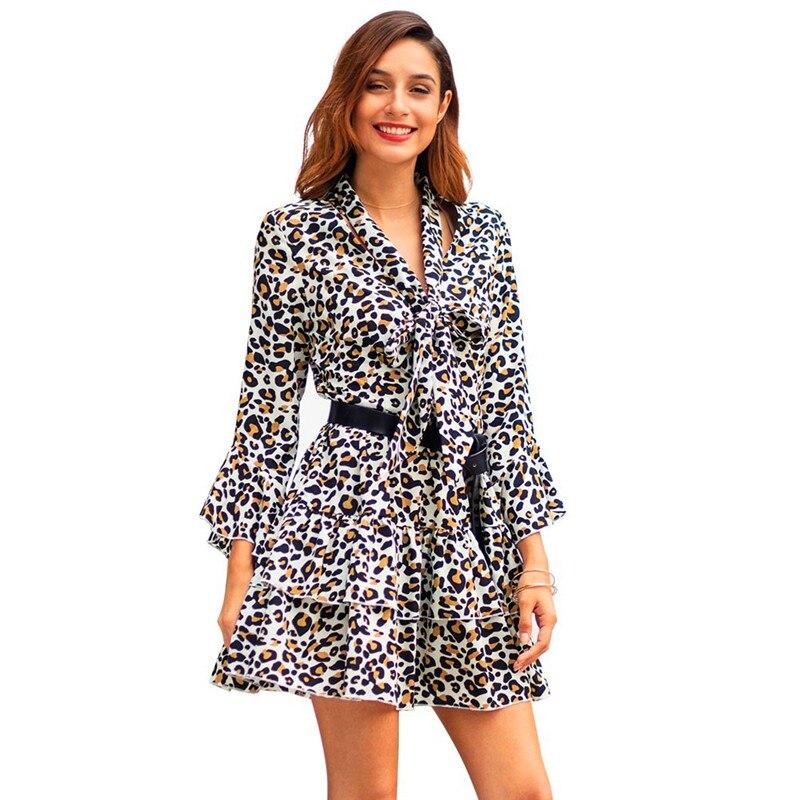 Femmes automne robe imprimé léopard dames robe Sexy col en V volants 2019 décontracté hiver Bandage robes de soirée robes