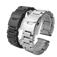 New Mens de acero inoxidable correa doble hebilla desplegable negro plateado anchura 22 mm 24 mm 26 mmmetal pulsera band