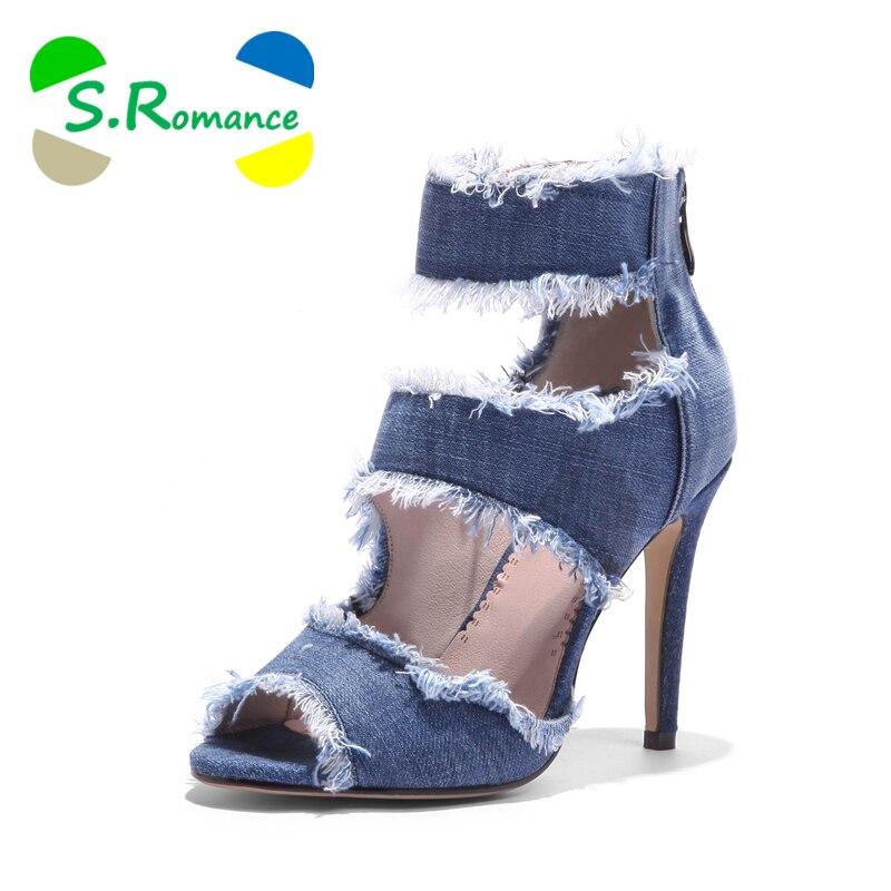 S. โรแมนติกผู้หญิง Plus ขนาด 34 43 แฟชั่นฤดูร้อน Zip รองเท้าส้นสูงปั๊มสำนักงาน Lady ผู้หญิงรองเท้าสีฟ้า SS986-ใน รองเท้าส้นสูง จาก รองเท้า บน   1