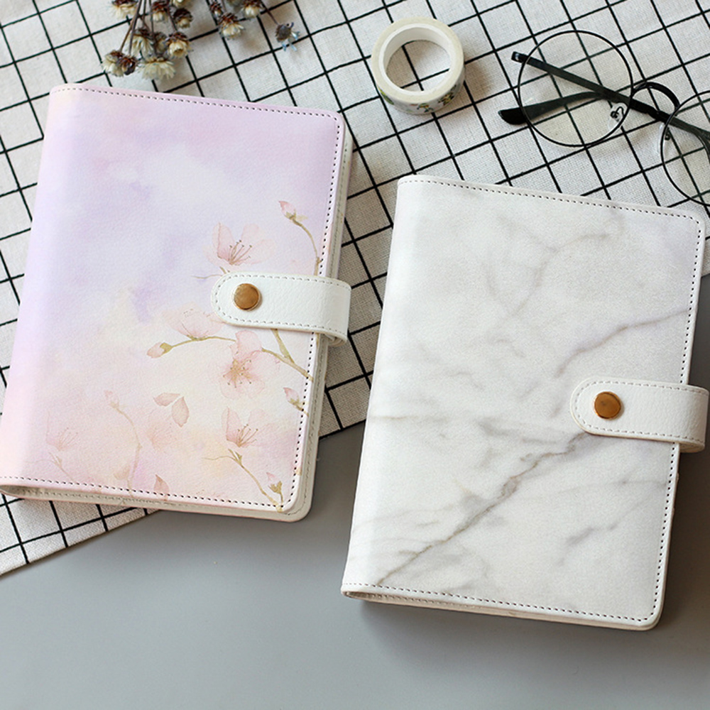 A6 Marble Color Leather Spiral Notebook Original Office Personal Diary/week Planner/agenda Organizer Cute Ring Stationery Binder leather spiral notebook travel journal personal macaron diary week planner agenda organizer cute ring stationery binder a5 a6