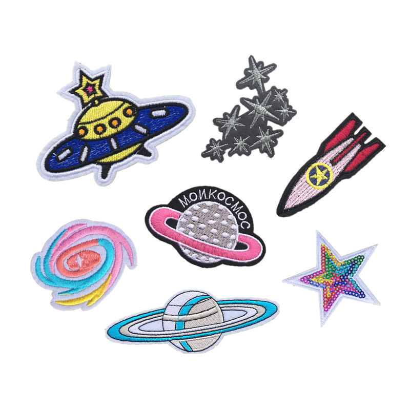 Direct Universe Planet Computer Embroidery Patch Stars UFO Clothing Decoration DIY Cloth Stickers D-027