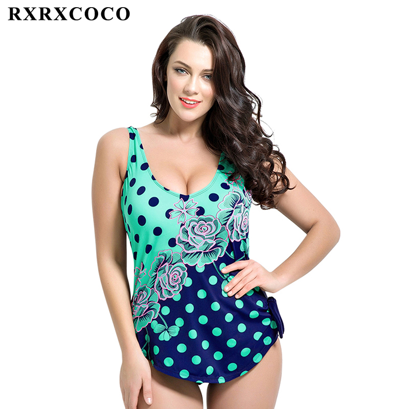 RXRXCOCO One Piece Swimsuit Plus Size Swimwear Women 2017 Set Summer Beach Halter Push Up Bathing Suit Swim Retro Swimsuits plus size scalloped backless one piece swimsuit