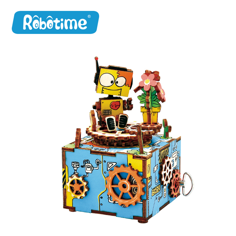 Robotime Kids DIY 3D Wooden Puzzle Handmade Music Box Educational Toys for Children Creativity Gifts Girls Crafts Home Decor