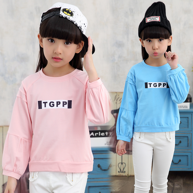 2017 autumn childrens clothes girls t-shirts casual letters long sleeve cotton baby girl t-shirts for girls kids tshirts top