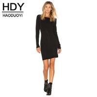 HDY Haoduoyi Women Backless Bodycon Sweater Dress Fashion Long Sleeve Knitting Mini Dress Winter Autumn Women