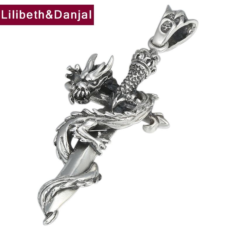 2019 New Pendant 100 925 Sterling Silver Jewelry Men Women Cross pattern Holy sword Dragon Necklace