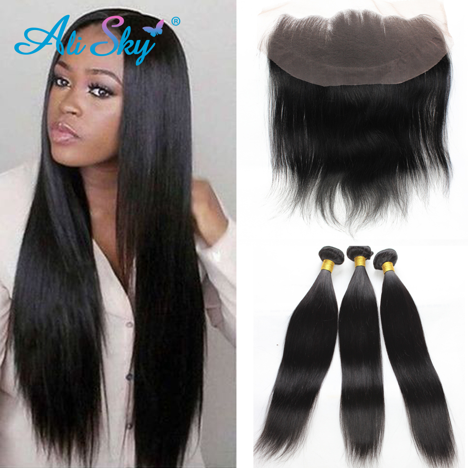3 Bundles Straight Brazilian Lace Frontal Closure with Bundles ear to ear lace frontal closure with bundles Mink Brazilian Hair