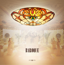 European Baroque 12/16/20 inch LED E27 110-240V Pastoral Ceiling Light Tiffany Round Glass Lampshade lamparas de techo abajur