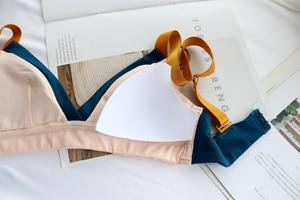 Image 4 - Wriufred חזייה לדחוף את תחתוני כותנה נשים Bralette חוט משלוח נשי חזיית ניגוד הלבשה תחתונה משולש כוס בתוספת גודל חזיות