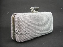 1145S Silver Crystal Lady fashion Party clutch bag Evening purse handbag case box IN FREE SHIPPING