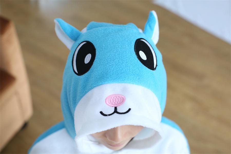 만화 동물 결합 블루 플라잉 다람쥐 Onesies 잠옷 - 캐릭터의상