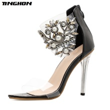 TINGHON Pearls PU Pattern High Heels Sandals Summer Transparent PVC Flower Women Rome Zipper Femme Pumps