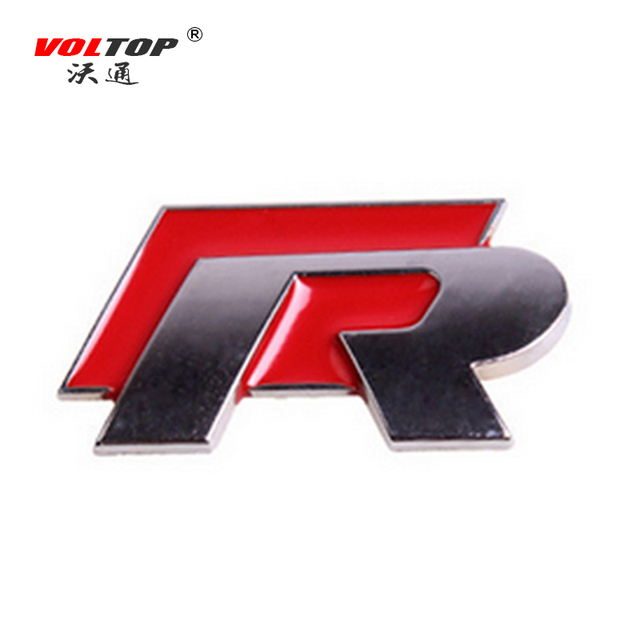 Voltop r line metal car sticker emblem badge auto body racing logo stickers reflective car styling