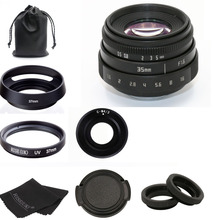 Yeni gelmesi FUJIAN 35mm f1.6 C montaj kamera CCTV Lens II M4/3/MFT montaj kamera ve adaptör siyah kiti ücretsiz kargo