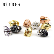 BTFBES 2pcs Roman Knight Spartan Warrior Gladiator Helmet Rhinestone Spacer Copper Loose Beads For Beaded Bracelets Jewelry DIY цена в Москве и Питере