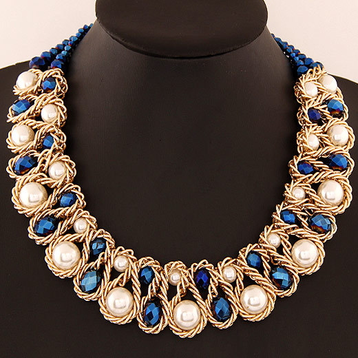 Fashion Women Bib Necklace Big Simulated Pearl Crystal Choker Collar Necklace For Women Exaggerated Statement Necklace Jewelry yfjewe crystal necklace women rhinestone pendant necklace ribbon choker bib collar necklace n084