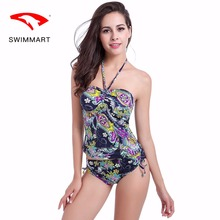 SWIMMART swimwear women Halter conservative swimsuit split triangle high waist spa swimming suit for swim