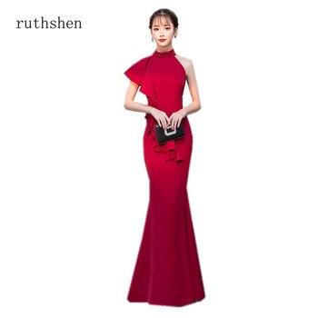 7b93b75d60 Ruthshen barato Vestidos De fiesta Vestidos De noche largo sirena Vestidos  Simple satén rojo cuello Halter Vestidos fiesta precio más bajo