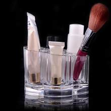 Fashion Plum Blossom Clear 6 Space Acrylic Makeup Brush Holder Cosmetic Organizer Display Stand Make Up Tool 1PC(China)