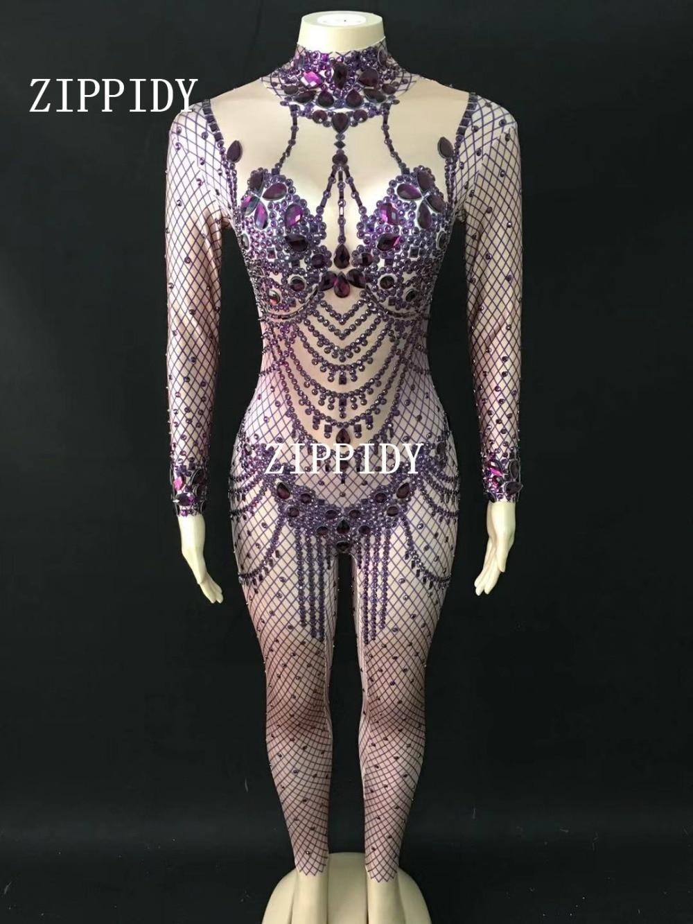 Purple Chanteur Barboteuses Mode Brillant Afficher Femelle De Scène Bal Violet Cristaux Salopette D'exposition Danse Body Tenue ZwBAc67qx