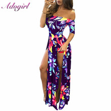 Women Plus Size S-5XL Floral Print Hobo Beach Long Dress Summer Elegant Off Shoulder Half Sleeve High Slit Party Dresses Vestido