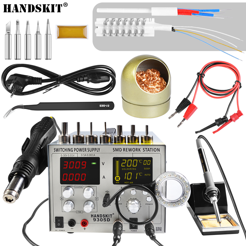 Image 2 - 4 IN 1 SMD 30V 5A DC Power Supply Bga Auto Hot Air Gun Rework Station Sleep Soldering Iron Station 110V/220V usb 5V 2A-in Soldering Stations from Tools