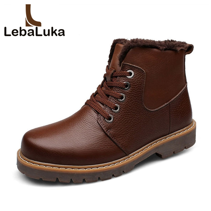 LebaLuka Size 37-48 Men Real Leather Ankle Boots Winter Warm Thick Fur Lace Up Flats Shoes Daily Flats Shoes Male Footwear xiaguocai new arrival real leather casual shoes men boots with fur warm men winter shoes fashion lace up flats ankle boots h599