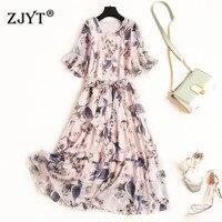 New Arrivals Summer Woman Dress 2019 Fashion Desigher Half Sleeve Lace Up Floral Print Casual Chiffon Dress Female Vestidos 2XL