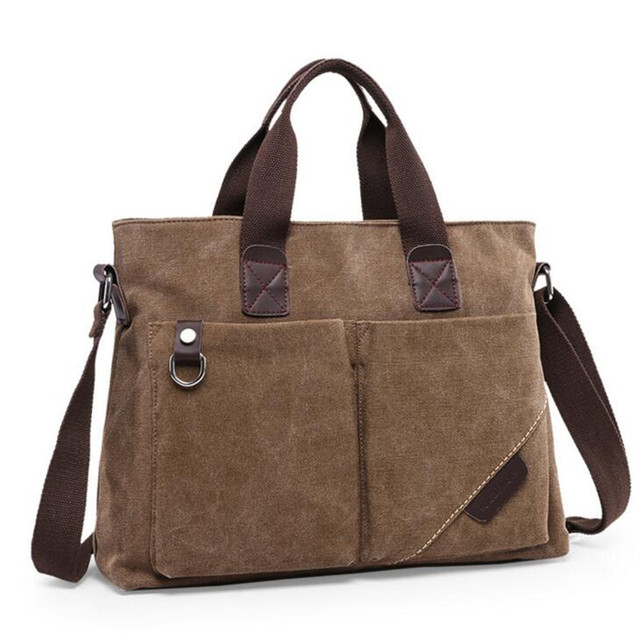 Local Lion Multi Function Handbags Water Washed Canvas Satchel Business Men Laptop Bag European American