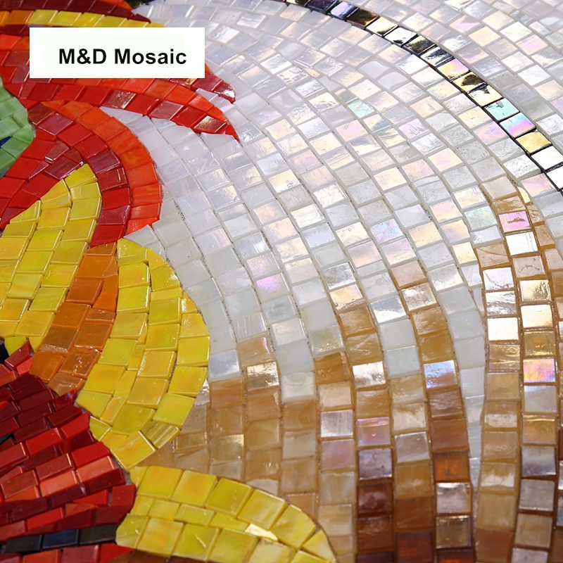 hand made custom mural wall sunflower ice jade glass mosaic tile home decoration bathroom kitchen backsplash entrance wall tile in wallpapers from home