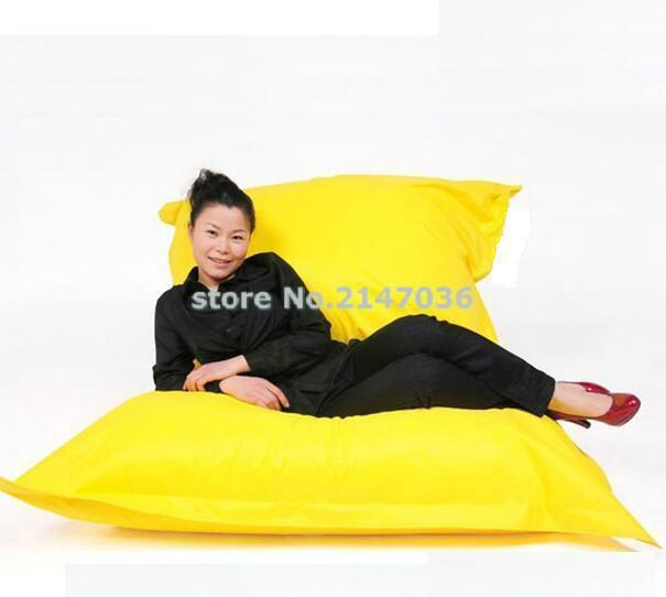 Yellow Oversized Waterproof Outdoor Square Folding Beanbag Chair Sitting Bean Bag Puff