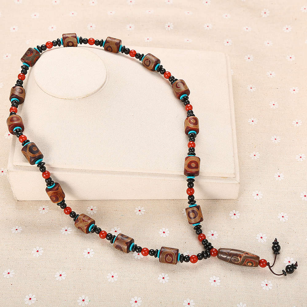 3A Agate Necklace Pendant Natural Stone Jewelry Trendy Women Sweater Chain Beaded Multi-layer Red Bead Accessories Holiday gift trendy gothic vivid beaded pendant lace necklace for women