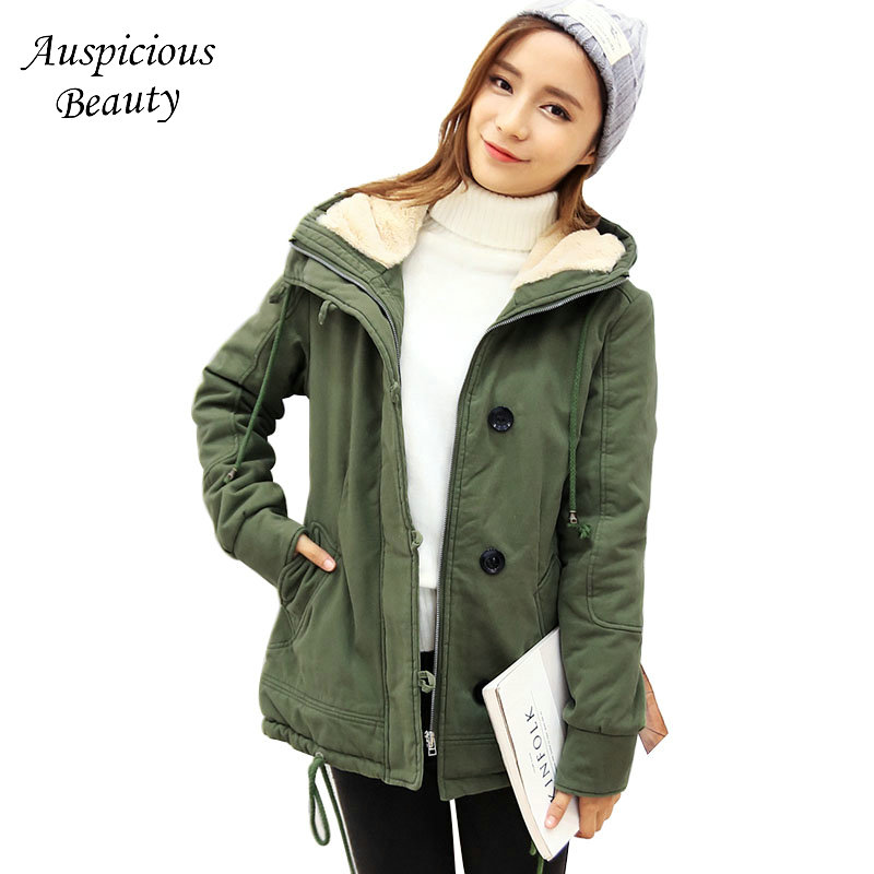 New Winter Women Warm Hooded Thicken Slim Single Breasted Wadded Jacket Woman Parkas Female Ladies Fashion Wadded Overcoat CXM79
